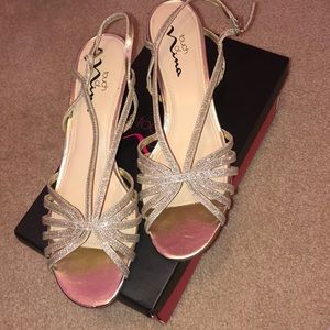 Gold strapy heels